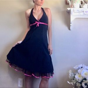Y2K Baby Pin Up Halter Ruffle Dress